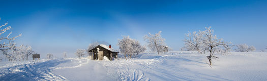Arctic cottage. In finnish landscape in lapland Stock Photos
