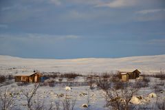 Arctic cottages. View on arctic cottages in finland Royalty Free Stock Images