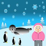 Arctic Eskimo. Snow background with eskimo, penguins and seal Stock Image