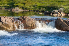 Arctic falls the river in tundra summer Royalty Free Stock Photo