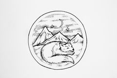 Arctic fox sleeps on a background of high mountains. royalty free illustration