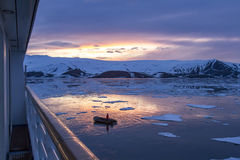 Arctic Glow reflecting in Whalers Bay, Deception Island, Antarct Stock Image