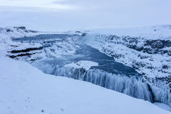 Arctic Gulfoss Waterfall Landscape on Iceland. On a snow storm day early morning we drove out to Gulfoss, barely able to see more than 10m, icy road, from time Stock Image