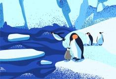 Free Arctic Ice Landscape Flat Vector Illustration. Penguins Family Standing On Ice Floe. Melting Glaciers. Iceberg, Snow Royalty Free Stock Image - 164927846