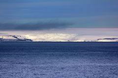 Arctic Islands Glaciers, snowfields and rock outcrops. Islands along British channel. Glaciers, icefall, outlet glacier, snowfields and rock outcrops Royalty Free Stock Images