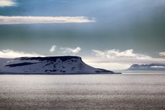 Arctic Islands Glaciers, snowfields and rock outcrops. Islands along British channel. Glaciers, icefall, outlet glacier, snowfields and rock outcrops. Northbrook Stock Images