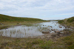 Arctic Lake. The lake is among the hills in the tundra of the Polar region Stock Photo