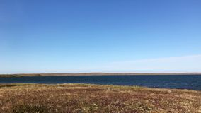 Arctic lake view in summer. Panning view of a wide lake in the arctic tundra in summer stock video footage