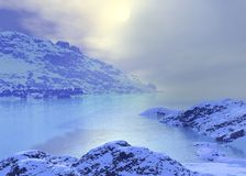 Arctic landscape. Arctic  landscape. Winter season. 3d graphics Royalty Free Stock Image