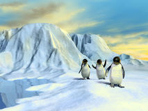 Arctic landscape. A group of cute penguins walking in an arctic landscape. Digital illustration stock illustration