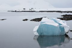 Arctic landscape, blue ice in the fjord royalty free stock photography