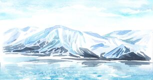 Arctic landscape and glacier. Backgrounds with copy space. Hand-drawn horizontal watercolor illustration