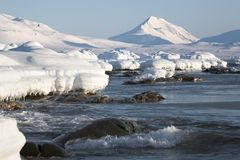 Arctic landscape, glaciers and mountains. Spitsbergen Royalty Free Stock Image