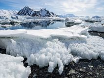 Arctic landscape - glaciers and mountains - Spitsbergen Royalty Free Stock Image