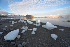 Arctic landscape, ice on the shore Stock Images