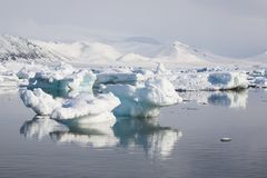 Arctic landscape,ice in the water. Arctic landscape - mountains, sea, ice Royalty Free Stock Photo