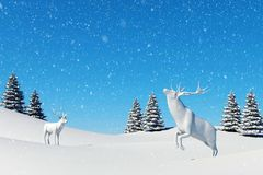 Arctic landscape scene, snow falling on reindeer in snowfield in winter season and Christmas day. 3D rendering Stock Images