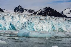 Arctic landscape in Svalbard with glacier in summer time. With sea and reflection royalty free stock photos