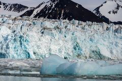 Arctic landscape in Svalbard with glacier in summer time stock photo