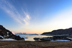 Arctic life with icebergs in Greenland. Stock Photo