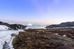 Arctic life with icebergs in Greenland. Royalty Free Stock Image