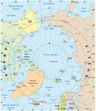 Arctic map. Highly detailed map of the Arctic region stock illustration