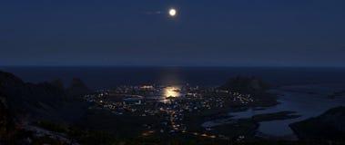 Arctic midnight cityscape- Vaeroy island Royalty Free Stock Image