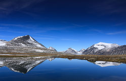 Arctic mountain lake. Reflections in an mountain lake above the polar circle Royalty Free Stock Photo