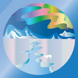 Arctic mountain pattern, ice, bear and aurora borealis Royalty Free Stock Image