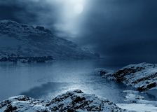 Arctic night  landscape. Arctic  night  landscape. Winter season. 3d graphics Stock Photo
