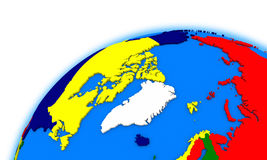 Arctic north polar region on globe political map Stock Image