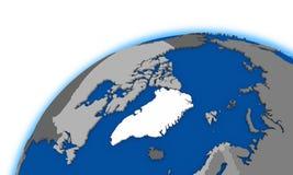 Arctic north polar region on globe political map Royalty Free Stock Photo