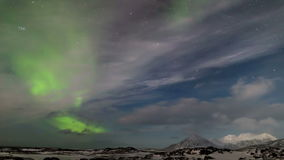 Arctic Northern Lights landscape - Spitsbergen, Svalbard stock video