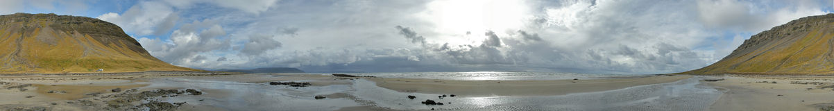 Arctic Ocean Beach. (Iceland) 360 degree panorama (near Siglunes royalty free stock images