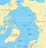 Arctic Ocean Map. With North Pole and Arctic Circle. Arctic region map with countries, national borders, rivers and lakes. Map without sea ice. English labeling royalty free illustration