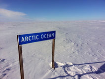 Arctic Ocean sign on the Ice Road Stock Image