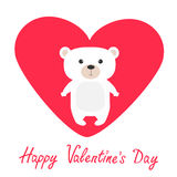 Arctic polar bear cub. Cute cartoon character. Happy Valentines Day. Love card with big red heart. Flat design. White background. Royalty Free Stock Photos