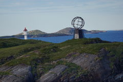 Arctic polar circle norway view. View of the monument symbol of the arctic polar circle in Vikingen island, Norway Stock Image