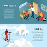 Arctic Polar Exploration Isometric Banners Stock Image