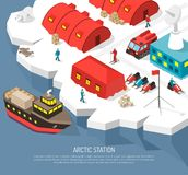 Arctic Polar Station Isometric Poster Stock Images