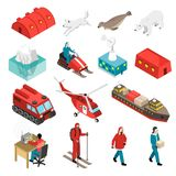 Arctic Polar Station Isometric Set Stock Photos