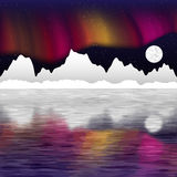 Arctic pole vector landscape with aurora Royalty Free Stock Photo
