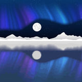 Arctic pole vector landscape with aurora Stock Image