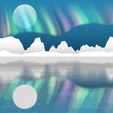 Arctic pole vector landscape with. Aurora borealis Royalty Free Stock Images