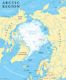 Arctic Region Map. With countries, capitals, national borders, rivers and lakes. Arctic Ocean with average minimum extent of sea ice. English labeling and stock illustration
