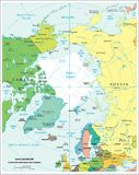 Arctic region political divisions map. Area geographical location map on the globe Stock Image