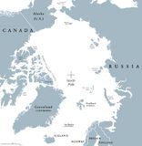 Arctic region political map. Polar region around the North Pole at the northernmost part of Earth. The Arctic Ocean without ice. Gray illustration with English Stock Photography