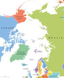Arctic region single states and North Pole political map. Nations in different colors, with national borders and country names. Arctic ocean without sea ice Stock Photos