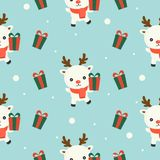 Arctic reindeer and gift box, christmas seamless pattern theme stock illustration