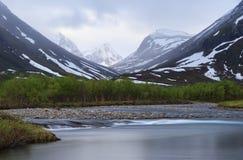 Arctic river. Long exposure of big river in Arctic Lapland, Sweden Stock Image